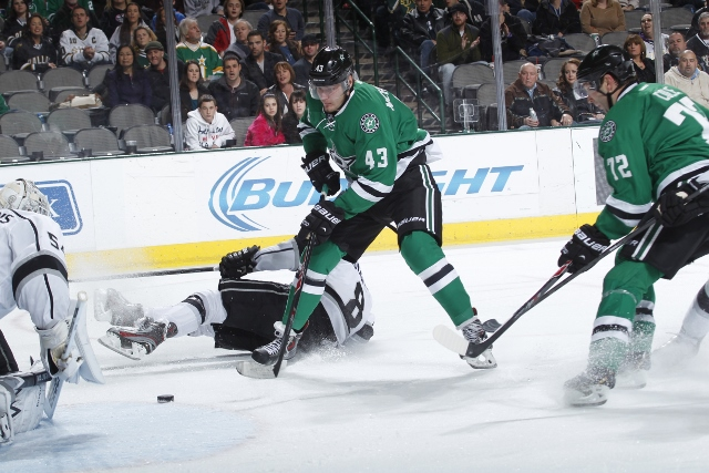 DALLAS, TX - DECEMBER 31:  Valeri Nichushkin #43 of the Dallas Stars tries to score in close against goalie Ben Scrivens #54 of the Los Angeles Kings at the American Airlines Center on December 31, 2013 in Dallas, Texas. (Photo by Glenn James/NHLI via Get