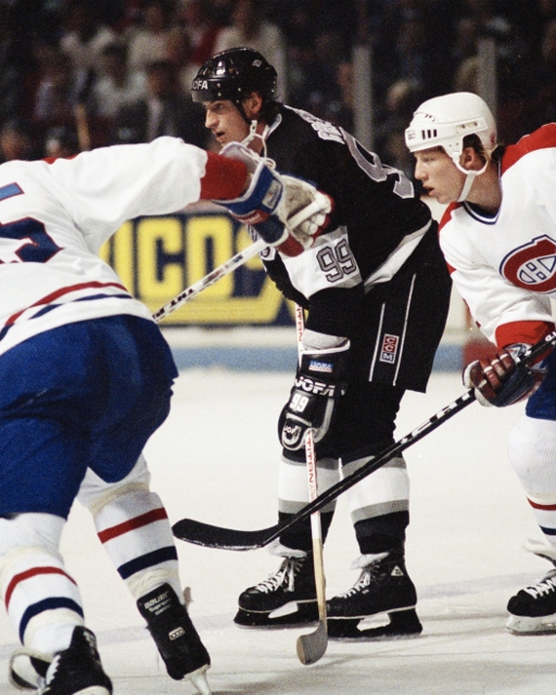 MONTREAL 1990's: Wayne Gretzky #99 of the Los Angeles Kings skates against the Montreal Canadiens in the 1990's at the Montreal Forum in Montreal, Quebec, Canada. (Photo by Denis Brodeur/NHLI via Getty Images)