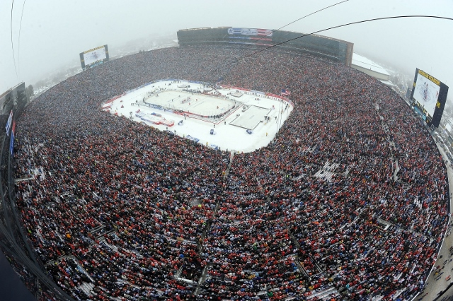 during the 2014 Bridgestone NHL Winter Classic on January 1, 2014 at Michigan Stadium in Ann Arbor, Michigan.