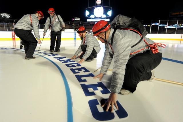 Los Angeles Kings v Anaheim Ducks Logo Install