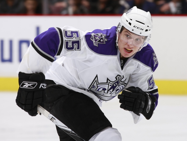VANCOUVER, CANADA - NOVEMBER 26:  Brayden Schenn #55 of the Los Angeles Kings skates up ice during their game against the Vancouver Canucks at General Motors Place on November 26, 2009 in Vancouver, British Columbia, Canada.  The Canucks defeated the King