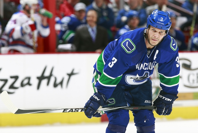 VANCOUVER, BC - APRIL 1:  Kevin Bieksa #3 of the Vancouver Canucks during their NHL game against the New York Rangers at Rogers Arena April 1, 2014 in Vancouver, British Columbia, Canada.  New York won 3-1. (Photo by Jeff Vinnick/NHLI via Getty Images)***
