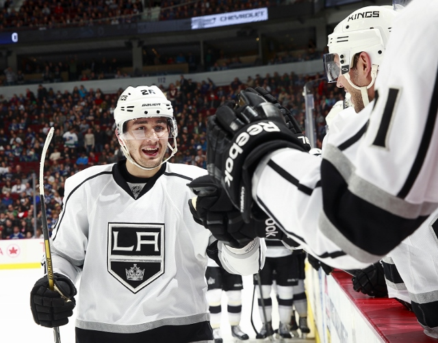 VANCOUVER, BC - APRIL 5:  Slava Voynov #26 of the Los Angeles Kings celebrates his first goal in 60 games when he tallied against the Vancouver Canucks during their NHL game at Rogers Arena April 5, 2014 in Vancouver, British Columbia, Canada.  (Photo by