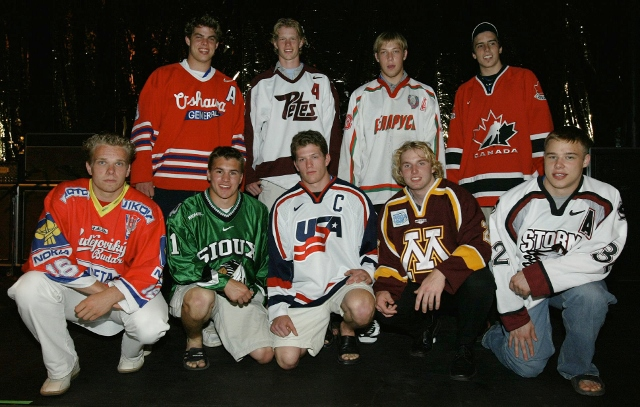 NASHVILLE, TN - JUNE 19:  Top NHL Draft prospects pose for a picture on stage in between concerts on June 19, 2003 at the Gaylord Entertainment Center in Nashville, Tennessee. Front row(L to R) Milan Michalek, Zach Parise, Ryan Suter, Thomas Vanek and Dus