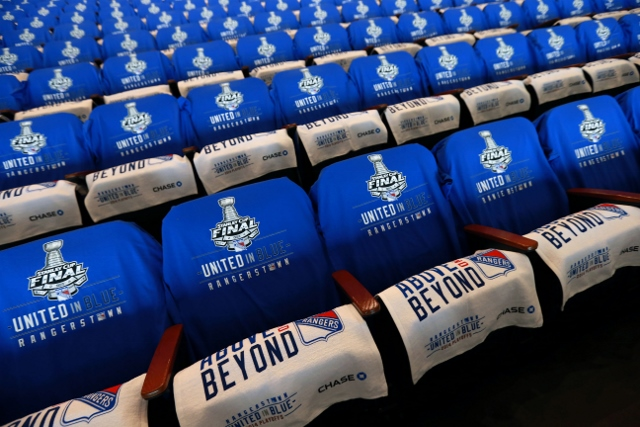 NEW YORK, NY - JUNE 9:  Towels and T-shirts drape the seats of Madison Square Garden prior to Game Three of the 2014 Stanley Cup Final between the Los Angeles Kings and the New York Rangers at Madison Square Garden on June 9, 2014 in New York, New York.