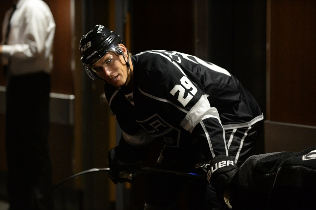 LOS ANGELES, CA - SEPTEMBER 22: Adam Cracknell #29 of the Los Angeles Kings stands outside of the locker room before a game against the Arizona Coyotes at STAPLES Center on September 22, 2014 in Los Angeles, California. (Photo by Aaron Poole/NHLI via Gett