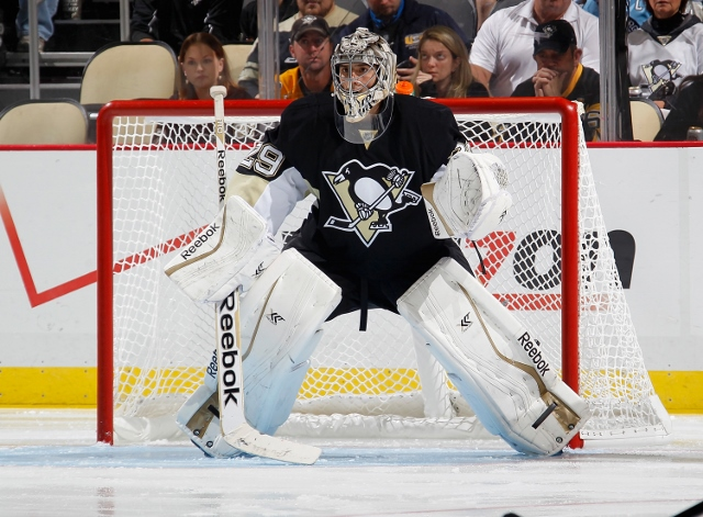 PITTSBURGH, PA - OCTOBER 09:  Marc-Andre Fleury #29 of the Pittsburgh Penguins defends the net against the Anaheim Ducks at Consol Energy Center on October 9, 2014 in Pittsburgh, Pennsylvania.  (Photo by Gregory Shamus/NHLI via Getty Images) *** Local Cap