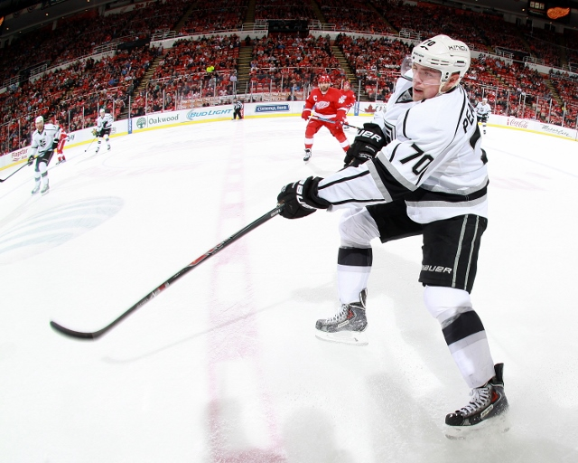 DETROIT, MI - OCTOBER 31: Tanner Pearson #70 of the Los Angeles Kings shoots the puck against the Detroit Red Wings during a NHL game on October 31, 2014 at Joe Louis Arena in Detroit, Michigan. The Wings defeated the Kings 5-2. (Dave Reginek/NHLI via Get