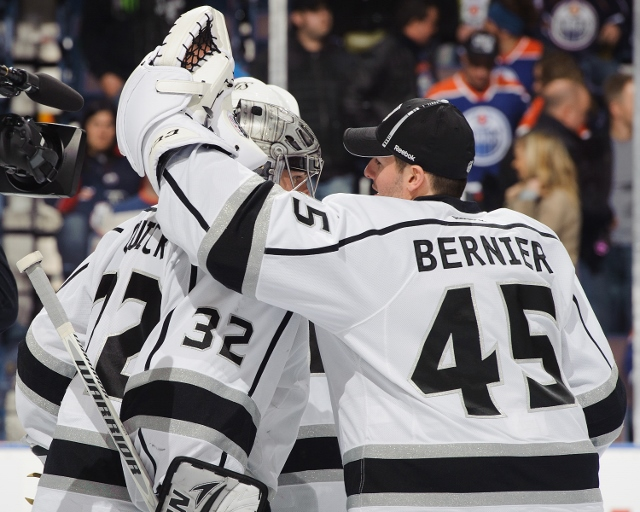 EDMONTON, CANADA - FEBRUARY 19: Jonathan Bernier #45 and Jonathan Quick #32 of the Los Angeles Kings celebrate after defeating the Edmonton Oilers during an NHL game at Rexall Place on February 19, 2013 in Edmonton, Alberta, Canada. (Photo by Derek Leung/