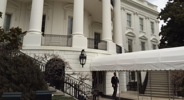 Darryl Sutter entering the South Lawn