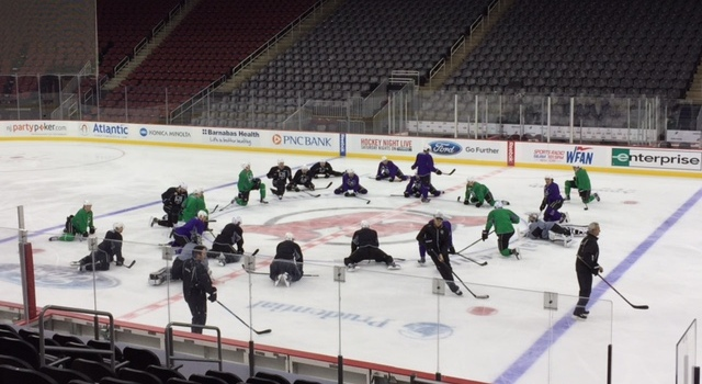 Sunday practice at the Prudential Center