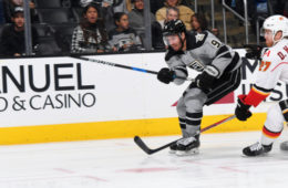 LOS ANGELES, CA - NOVEMBER 5:  Teddy Purcell #9 of the Los Angeles Kings releases a shot against Dougie Hamilton #27 of the Calgary Flames on November 5, 2016 at Staples Center in Los Angeles, California. (Photo by Aaron Poole/NHLI via Getty Images)