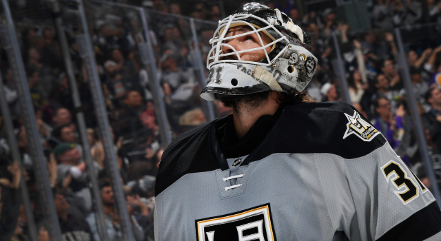 LOS ANGELES, CA - NOVEMBER 5:  Peter Budaj #31 of the Los Angeles Kings waits to resume play during the game against the Calgary Flames on November 5, 2016 at Staples Center in Los Angeles, California. (Photo by Aaron Poole/NHLI via Getty Images)