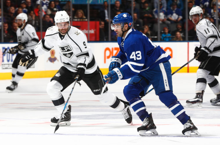 TORONTO, ON - NOVEMBER 8: Teddy Purcell #9 of the Los Angeles Kings skates against Nazem Kadri #43 of the Toronto Maple Leafs during the second period at the Air Canada Centre on November 8, 2016 in Toronto, Ontario, Canada. (Photo by Mark Blinch/NHLI via Getty Images)