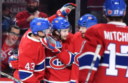 MONTREAL, QC - NOVEMBER 10: Daniel Carr #43 of the Montreal Canadiens celebrates after scoring a goal against the Los Angeles Kings in the NHL game at the Bell Centre on November 10, 2016 in Montreal, Quebec, Canada. (Photo by Francois Lacasse/NHLI via Getty Images)