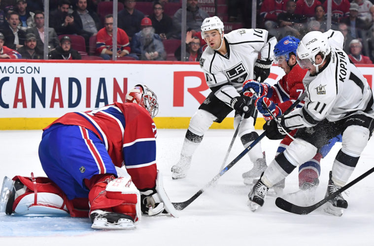 MONTREAL, QC - NOVEMBER 10: Carey Price #31 of the Montreal Canadiens stops a shot by Anze Kopitar #11 of the Los Angeles Kings in the NHL game at the Bell Centre on November 10, 2016 in Montreal, Quebec, Canada. (Photo by Francois Lacasse/NHLI via Getty Images)
