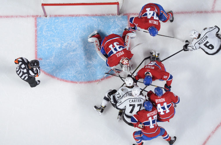 MONTREAL, QC - NOVEMBER 10: Carey Price #31, Alexei Emelin #74, Torrey Mitchell #17, Paul Byron #41 and Shea Weber #6 of the Montreal Canadiens protect the net against Tyler Toffoli #73 and Jeff Carter #77 of the Los Angeles Kings in the NHL game at the Bell Centre on November 10, 2016 in Montreal, Quebec, Canada. (Photo by Francois Lacasse/NHLI via Getty Images)