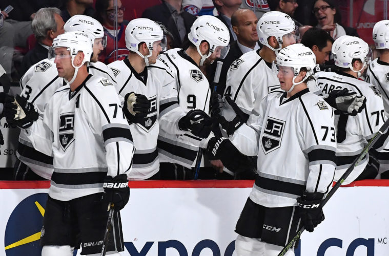 MONTREAL, QC - NOVEMBER 10: Tyler Toffoli #73 of the Los Angeles Kings celebrates with the bench after scoring a goal against against the Montreal Canadiens  in the NHL game at the Bell Centre on November 10, 2016 in Montreal, Quebec, Canada. (Photo by Francois Lacasse/NHLI via Getty Images)