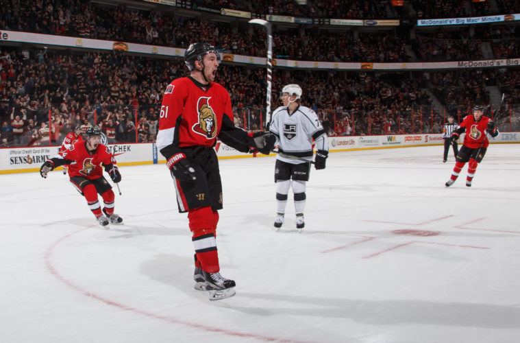 OTTAWA, ON - NOVEMBER 11: Mark Stone #61 of the Ottawa Senators celebrates his last minute, game-winning third period goal against the Los Angeles Kings at Canadian Tire Centre on November 11, 2016 in Ottawa, Ontario, Canada.  (Photo by Andre Ringuette/NHLI via Getty Images)