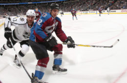 DENVER, CO - NOVEMBER 15: Francois Beauchemin #32 of the Colorado Avalanche skates against Kyle Clifford #13 of the Los Angeles Kings at the Pepsi Center on November 15, 2016 in Denver, Colorado.  (Photo by Michael Martin/NHLI via Getty Images)