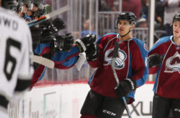 DENVER, CO - NOVEMBER 15: Rene Bourque #17 of the Colorado Avalanche celebrates a goal against the Los Angeles Kings with his bench at the Pepsi Center on November 15, 2016 in Denver, Colorado.  (Photo by Michael Martin/NHLI via Getty Images)