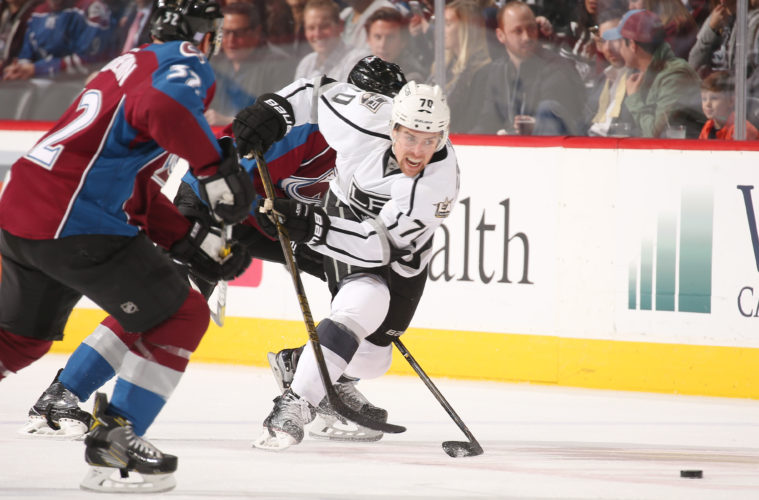 DENVER, CO - NOVEMBER 15: Tanner Pearson #70 of the Los Angeles Kings races to the puck against Joe Colborne #8 and Francois Beauchemin #32 of the Colorado Avalanche at the Pepsi Center on November 15, 2016 in Denver, Colorado.  (Photo by Michael Martin/NHLI via Getty Images)