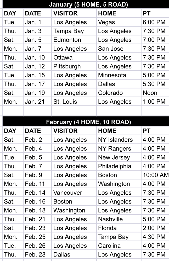 photo regarding Los Angeles Kings Printable Schedule referred to as The 2018-19 program, within just all its glory; factoids and bullet