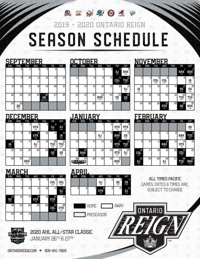 picture relating to Sabres Schedule Printable called The 2019-20 Ontario Reign plan: Information, Data, Tidbits